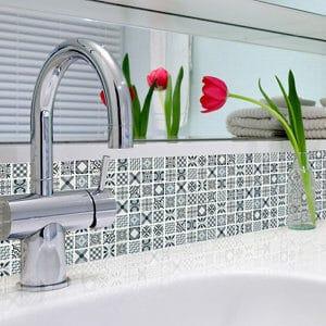 3D Spiro Grey & white Moroccan geometric Glass 3x3 Mosaic tile (L)300mm (W)300mm