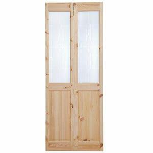 4 panel 2 Lite Frosted Glazed Knotty pine Internal Bi-fold Door set (H)2005mm (W)815mm
