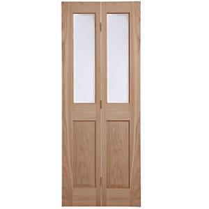 4 panel 2 Lite Frosted Glazed Oak veneer Internal Bi-fold Door set (H)1950mm (W)753mm