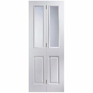 4 panel 2 Lite Glazed Primed White Woodgrain effect Internal Bi-fold Door set (H)1950mm (W)750mm