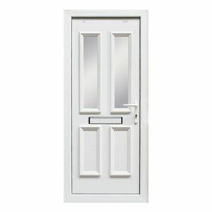 4 panel Diamond bevel Frosted Glazed White uPVC LH External Front Door set (H)2055mm (W)840mm
