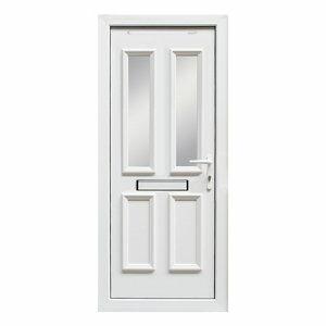 4 panel Diamond bevel Frosted Glazed White uPVC LH External Front Door set (H)2055mm (W)920mm