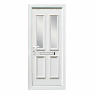 4 panel Diamond bevel Frosted Glazed White uPVC RH External Front Door set (H)2055mm (W)920mm