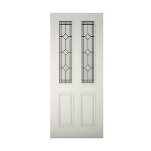 4 panel Diamond bevel Glazed Raised moulding Primed White LH & RH External Front Door (H)1981mm (W)762mm