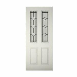 4 panel Diamond bevel Glazed Raised moulding Primed White LH & RH External Front Door (H)2032mm (W)813mm