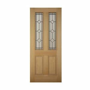 4 panel Diamond bevel Glazed Raised moulding White oak veneer LH & RH External Front Door (H)2032mm (W)813mm
