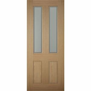 4 panel Frosted Glazed White oak veneer LH & RH External Front Door (H)1981mm (W)762mm