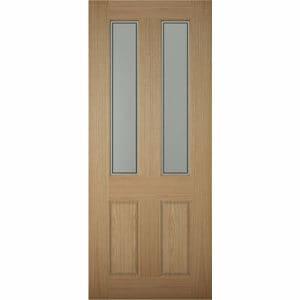 4 panel Frosted Glazed White oak veneer LH & RH External Front Door (H)1981mm (W)838mm