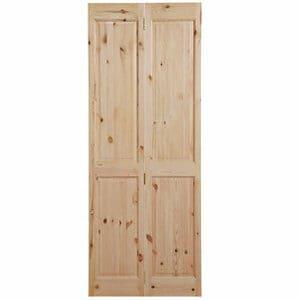 4 panel Knotty pine Internal Bi-fold Door set (H)1981mm (W)686mm