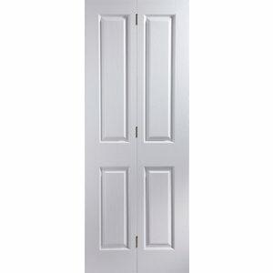 4 panel Primed White Woodgrain effect Internal Bi-fold Door set (H)1950mm (W)595mm