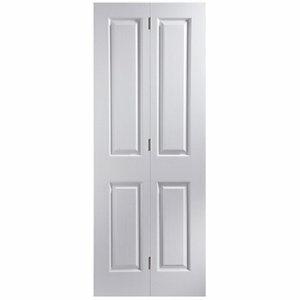 4 panel Primed White Woodgrain effect Internal Bi-fold Door set (H)1950mm (W)826mm