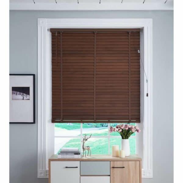 50mm Wood Venetian Blind - Walnut - 100x130cm