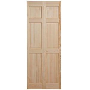 6 panel Clear pine Internal Bi-fold Door set (H)1950mm (W)750mm