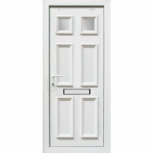 6 panel Frosted Glazed White uPVC RH External Front Door set (H)2055mm (W)840mm
