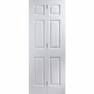 6 panel Primed White Woodgrain effect Internal Bi-fold Door set (H)1950mm (W)750mm
