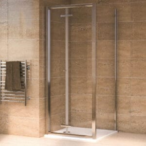 Aqualux Bi-Fold Door Shower Enclosure and Tray Package - 800 x 800mm