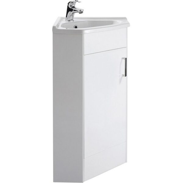 Balterley Orbit 1 Door Corner Cabinet Basin - Gloss White