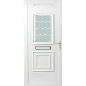 B&Q Ashgrove 2 panel Diamond bevel Frosted Glazed White uPVC LH External Front Door set (H)2055mm (W)920mm