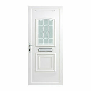 B&Q Ashgrove 2 panel Diamond bevel Frosted Glazed White uPVC RH External Front Door set (H)2055mm (W)920mm