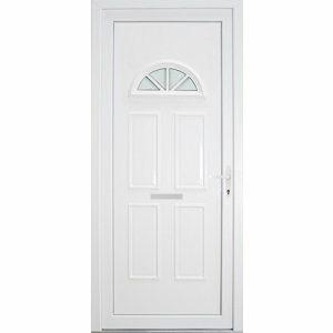 B&Q Carolina Frosted Glazed White uPVC LH External Front Door set (H)2055mm (W)920mm