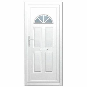 B&Q Carolina Frosted Glazed White uPVC RH External Front Door set (H)2055mm (W)920mm