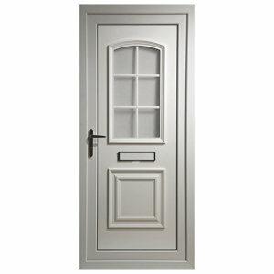 B&Q Georgian 2 panel Glazed White uPVC LH External Front Door set (H)2055mm (W)920mm