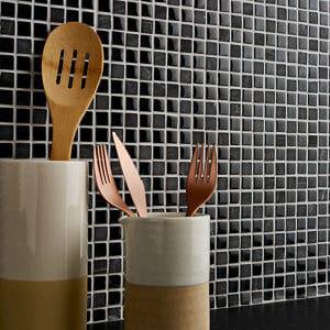 Barya Black & blue Glass effect Mosaic Glass & natural stone Mosaic tile (L)300mm (W)300mm