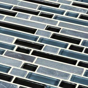 Bolognai Black & blue Glass effect Mosaic Glass & marble Mosaic tile (L)304mm (W)300mm