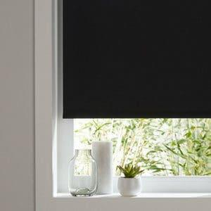 Boreas Corded Black Plain Blackout Roller Blind (W)160cm (L)180cm