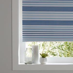 Boreas Corded Blue Striped Blackout Roller Blind (W)60cm (L)195cm