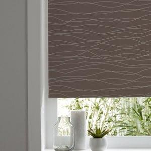 Boreas Corded Brown & white Wave Blackout Roller Blind (W)60cm (L)195cm