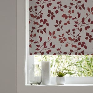 Boreas Corded Ivory & red Foliage Blackout Roller Blind (W)160cm (L)195cm