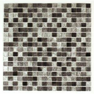 Bruges Grey Glass Mosaic tile (L)300mm (W)300mm