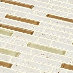 Cagliari Beige & brown Glass effect Mosaic Glass & natural stone Mosaic tile (L)304mm (W)300mm