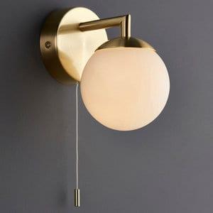 Cap Brushed Gold effect Bathroom Wall light