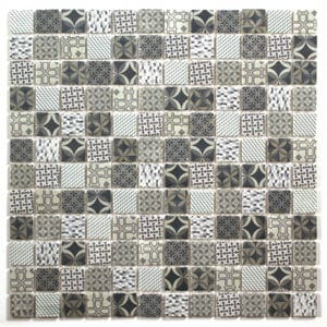 Casablanca White & blue Moroccan patterned Glass Mosaic tile (L)300mm (W)300mm