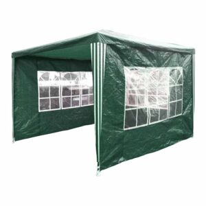 Charles Bentley Gazebo With 3 Side Walls Green 3 x 3m Metal