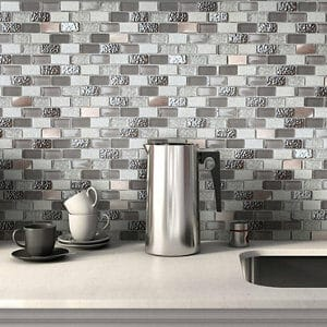 Chelsea Grey Copper effect Glass & stone Mosaic tile sheets (L)298mm (W)304mm