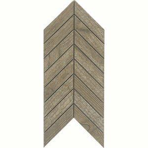 Chevron mosaic Brown Matt Wood effect Porcelain Wall & floor tile (L)300mm (W)155mm