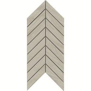 Chevron mosaic White Matt Wood effect Porcelain Wall & floor tile (L)300mm (W)155mm