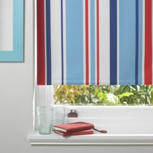 Colours Keel Corded Blue Red & White Roller Blind (L)160cm (W)60cm