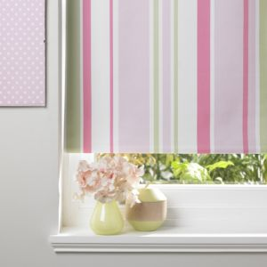 Colours Keel Corded Green Pink & White Roller Blind (L)160cm (W)60cm
