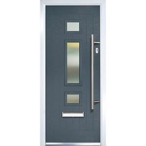 Crystal 3 panel Frosted Glazed Grey Composite LH External Front Door set (H)2055mm (W)920mm
