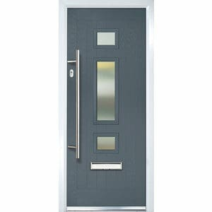Crystal 3 panel Frosted Glazed Grey Composite RH External Front Door set (H)2055mm (W)920mm