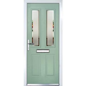 Crystal 4 panel Frosted Glazed Green Composite RH External Front Door set (H)2055mm (W)920mm