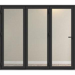 Crystal Clear Glazed Grey Aluminium LH External Folding Bi-fold Door set (H)2104mm (W)2104mm