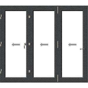 Crystal Clear Glazed Grey Aluminium LH External Folding Bi-fold Door set (H)2104mm (W)2404mm
