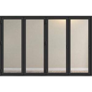 Crystal Clear Glazed Grey Aluminium LH External Folding Bi-fold Door set (H)2104mm (W)3004mm
