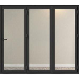 Crystal Clear Glazed Grey Aluminium RH External Folding Bi-fold Door set (H)2104mm (W)2104mm