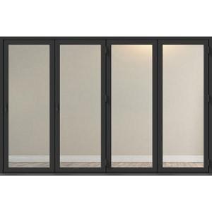 Crystal Clear Glazed Grey Aluminium RH External Folding Bi-fold Door set (H)2104mm (W)3004mm